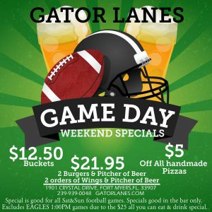 Gator Lanes' Game Day Weekend Specials