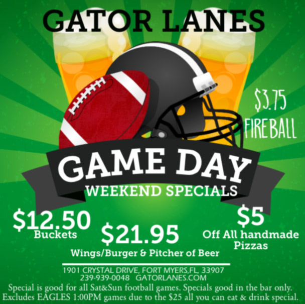 Gator Lanes Football Game Day WEekend Specials